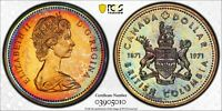 1971 CANADA DOLLAR BRITISH COLUMBIA PCGS SP67 MONSTER TONED COLOR GEM (MR)
