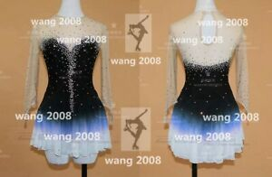 Figure Skating Competition Dress Ice Skating Training Girl black blue dyeing