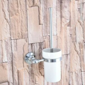 Polished Chrome Wall Mounted Toilet Brush set With Ceramic Cup Holder Zba795