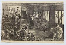 1955 René-Jean CLOT Lithographie originale en noir 1/200 Melancolia Enfer scène