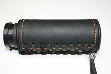 Black Deluxe Padded Leather Grip Covers Vibration Dampening Orange Stitch