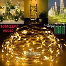 33FT Warm White100 LED Battery Power Copper Wire String Fairy Light Waterproof
