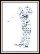 Golfista Golf Personalizado Palabra Art A4 impresión Sport Navidad Cumpleaños Regalo