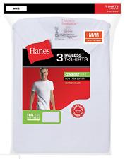 Hanes Mens White Tagless T-Shirts Crewneck 3Pk S-3XL