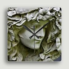 Garden Angel ~ SQUARE WALL CLOCK / Meditative Portrait of Stone Sculpture
