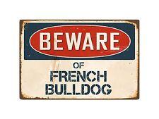 "Beware Of French Bulldog 8"" x 12"" Vintage Aluminum Retro Metal Sign VS176"