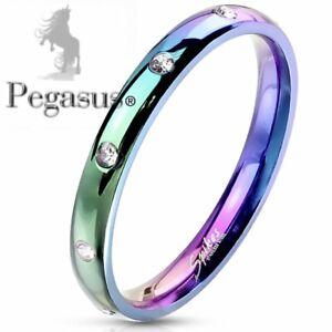 SIZE L - ladies Rainbow Titanium cz crystal half eternity Dome band ring