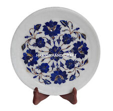 """9"""" Indian White Marble Tray Plate Lapis Inlay Marquetry Dinning Table Deco H1339"""