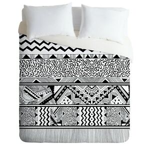 Deny Designs Tribal 3 by Kris Tate Black & Off White Woven Twin Duvet Cover