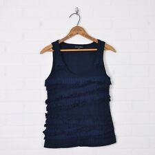 Banana Republic Navy Blue Pleated Ruffle Sleeveless T-Shirt Tank Top Blouse PS