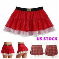 Women's High-Waist Plaid Skirt Pleated Short Skirt School Girl Mini Dress USA