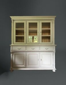 Large Grey Painted Victorian Style Pine Glazed Dresser Display Cabinet Cupboard
