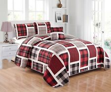 Fancy Linen 4pc Full Size Reversible Quilt Set Plaid Red Gray White Black New
