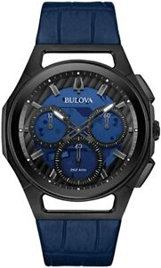 New Bulova Curv Chronograph Blue Dial Leather Band Men's Watch 98A232