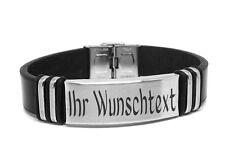 Leder Armband mit Edelstahlplatte + GRAVUR Wunschtext Wunschname ID Lederarmband