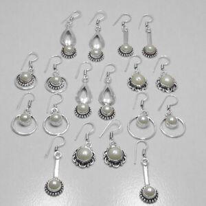 Pearl 20 pair Wholesale Lots 925 Sterling Silver Plated Handmade Earrings