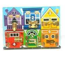 Melissa & Doug Latches Board Educational Numbers Toy Puzzle Locks Animals EUC LN