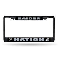 Oakland Raiders Nation NFL Black Metal License Plate Frame