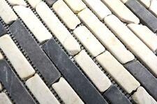 Mosaïque marbre naturel pierre beige noir Brique Biancone 40-0115_b   1 plaque