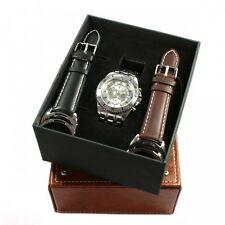 Geschenkidee Herrenuhr silber Chrono Datum Uhr Geschenkset mit Wechselbändern
