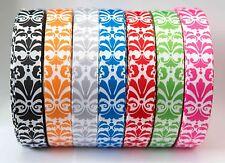 22mm Grosgrain Ribbon Craft DIY Cake Decorations Hair Bows Damask Pattern