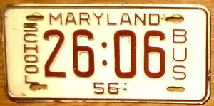 1956 Maryland License Plate Number Tag – School Bus