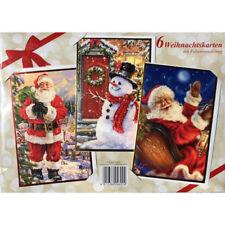 Weihnachtskarten mit Folienveredelung 12-teilig Set2 Schlitten