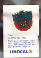 VINTAGE L.A. DODGERS UNOCAL PIN (UNUSED) - 1ST GAME N.L. 1980 VS. BOSTON