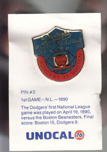VINTAGE L.A. DODGERS UNOCAL PIN (UNUSED) - 1ST GAME N.L. 1980 VS. BOSTON