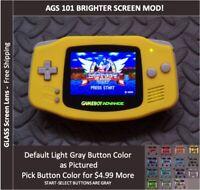 Nintendo Game Boy Advance  System AGS101 Backlit Mod-Glass Screen - Yellow