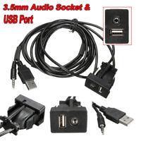 Car Flush Mount`3.5mm AUX USB Headphone Jack Mounting Panel Dash Dock Input Lead