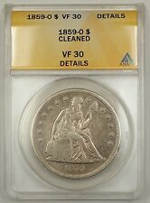 1859-0 Seated Liberty Silver Dollar $1 ANACS VF-30 Details Cleaned