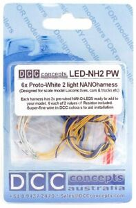 DCC Concepts LED-NH2PW 6 x 2 led White Nano Light Harnesses with 150mm Leads 1st