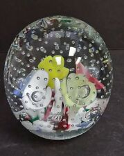 MURANO Glass Paperweight Millefiori Flowers with Controlled Bubbles Vintage