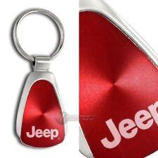 JEEP Logo RED Tear Drop Authentic Chrome Key Fob Keyring Keychain Tag Lanyard