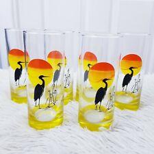 More details for  vtg 6 tall glass tumblers panache crane heron stork sunset yellow orange retro
