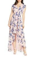 NEW ELIZA J Pink Floral Print High Low Chiffon Maxi Skirt Midi Dress 10