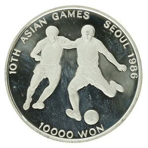 South Korea - Silver 10000 Won Coin - 'Football' - 1986 - Proof