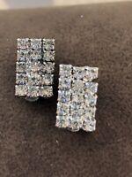 Stunning Vintage Czech Crystal Clear Glass Rhinestone Clip On Earrings