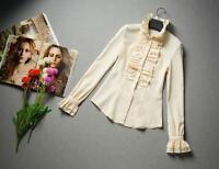 Elegant Tops High Neck Frilly Ruffle Womens Victorian Long Sleeves Shirt Blouse