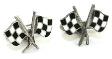 Vtg Modernist CHECKERED FLAG Sterling Silver & Enamel Nascar RACING Cufflinks