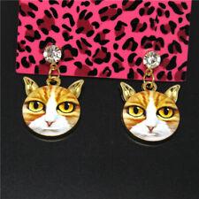 Betsey Johnson Women Stand Earrings Yellow Enamel Cute Cat Head Crystal