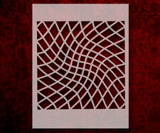 """Squares Square Illusion Bent Pattern 8.5"""" x 11"""" Stencil FAST FREE SHIPPING (638)"""