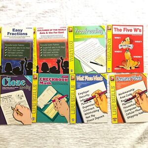 Lot of 8 Remedia Publication Pre-Owned Workbooks  Math, English, History