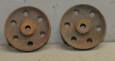 """Two 5"""" cast iron wheels collectible cart safe industrial vintage tool lot"""