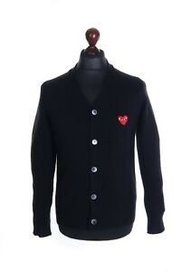 Men's PLAY COMME DES GARCONS Black 100% Cotton Embroidered Heart Cardigan Size M