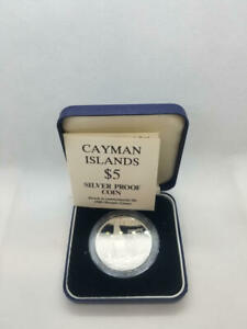1988 Cayman Islands Proof $5 Silver Dollar. Olympic Games. BOX + COA