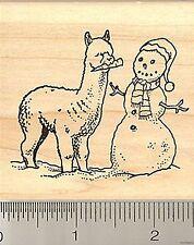 CUTE Alpaca with Snowman rubber stamp J8713 WM Llama
