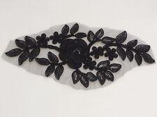 Apliques de Encaje Floral Negro/Vestido Vintage de encaje Adorno es para la venta Vendido Por Pieza