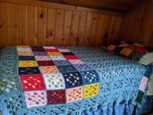 VTG Handmade Knit Crochet TWIN Size Bed Topper Blanket Coverlet & Pillow Sham